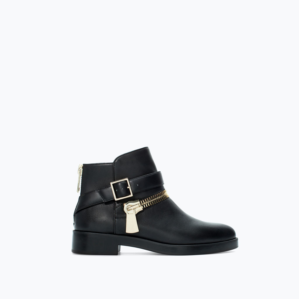 Flat Leather Bootie With Zip - predominant colour: black; occasions: casual, creative work; material: leather; heel height: flat; embellishment: buckles; heel: standard; toe: round toe; boot length: ankle boot; style: standard; finish: plain; pattern: plain; trends: outerwear chic; season: a/w 2014