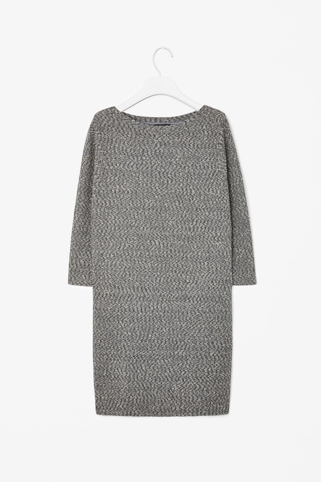 Textured Jersey Dress - style: jumper dress; length: mid thigh; neckline: slash/boat neckline; predominant colour: mid grey; occasions: casual, creative work; fit: straight cut; fibres: cotton - mix; sleeve length: 3/4 length; sleeve style: standard; texture group: woven light midweight; pattern: marl; season: a/w 2014