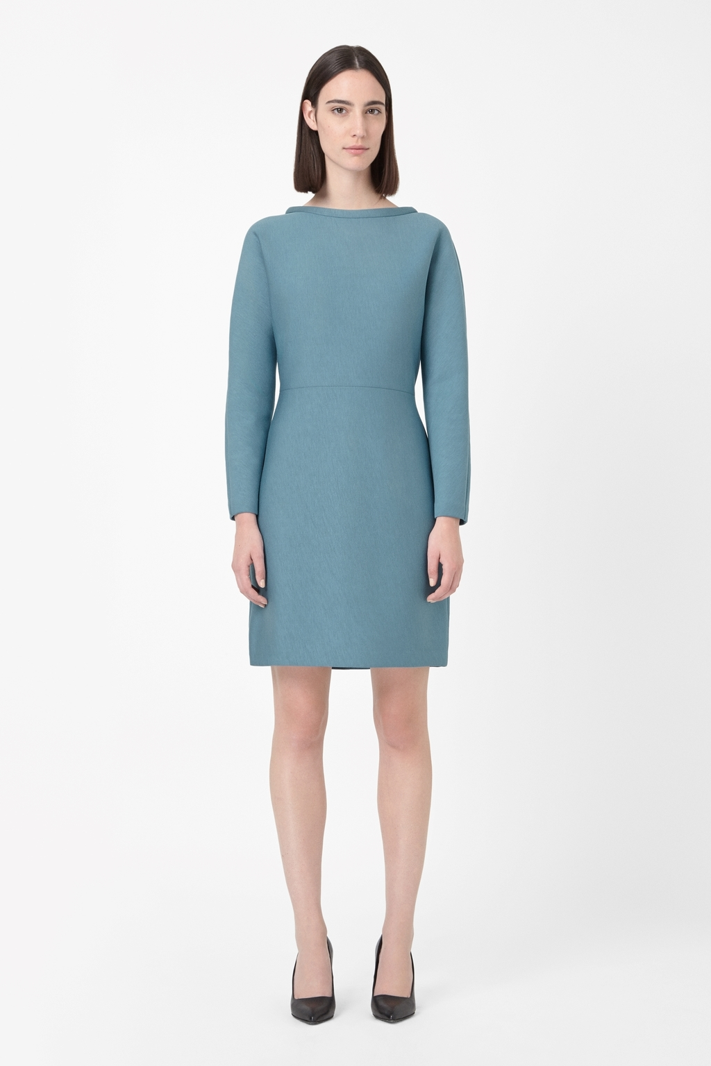 Standing Collar Dress - style: shift; neckline: slash/boat neckline; fit: tailored/fitted; pattern: plain; predominant colour: denim; occasions: casual, work, occasion, creative work; length: just above the knee; fibres: wool - mix; sleeve length: long sleeve; sleeve style: standard; texture group: jersey - stretchy/drapey; season: a/w 2014