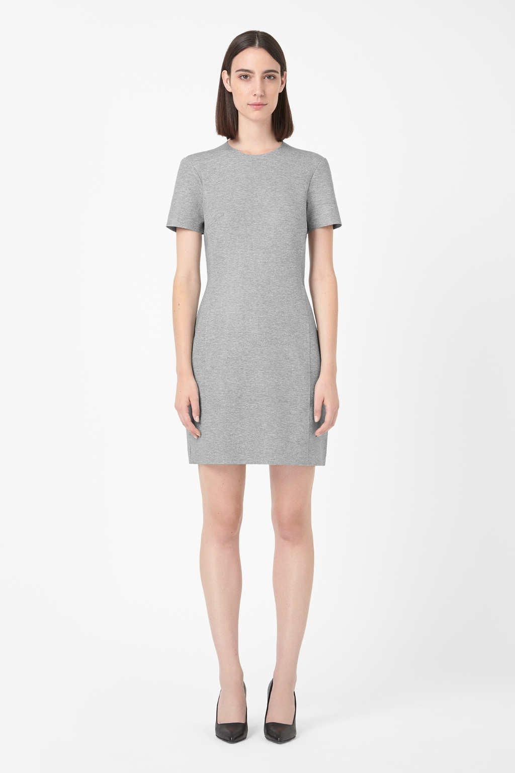 Clean Edge Jersey Dress - style: shift; length: mid thigh; fit: tailored/fitted; predominant colour: mid grey; occasions: casual, creative work; fibres: viscose/rayon - stretch; neckline: crew; sleeve length: short sleeve; sleeve style: standard; texture group: jersey - stretchy/drapey; pattern: marl; season: a/w 2014
