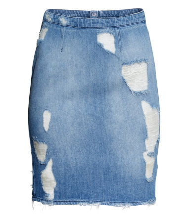 Denim Skirt - length: mid thigh; pattern: plain; style: pencil; fit: tailored/fitted; waist: high rise; predominant colour: denim; occasions: casual; fibres: cotton - mix; waist detail: narrow waistband; texture group: denim; pattern type: fabric; season: a/w 2014