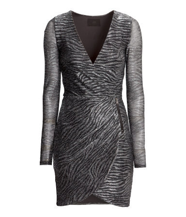 Wraparound Dress - style: shift; length: mini; neckline: low v-neck; predominant colour: charcoal; secondary colour: light grey; occasions: evening, occasion; fit: body skimming; fibres: polyester/polyamide - mix; sleeve length: long sleeve; sleeve style: standard; pattern type: fabric; pattern size: standard; pattern: animal print; texture group: jersey - stretchy/drapey; season: a/w 2014