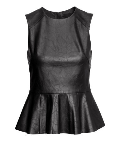Peplum Top - neckline: round neck; pattern: plain; sleeve style: sleeveless; waist detail: peplum waist detail; predominant colour: black; occasions: casual, evening, creative work; length: standard; style: top; fibres: polyester/polyamide - stretch; fit: tailored/fitted; sleeve length: sleeveless; texture group: leather; pattern type: fabric; season: a/w 2014
