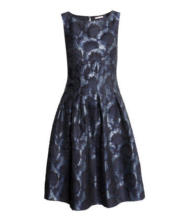 Brocade Dress - neckline: round neck; sleeve style: sleeveless; predominant colour: royal blue; occasions: evening, occasion; length: on the knee; fit: fitted at waist & bust; style: fit & flare; fibres: polyester/polyamide - 100%; hip detail: adds bulk at the hips; sleeve length: sleeveless; pattern type: fabric; pattern size: standard; pattern: patterned/print; texture group: brocade/jacquard; trends: zesty shades, optic prints; season: a/w 2014