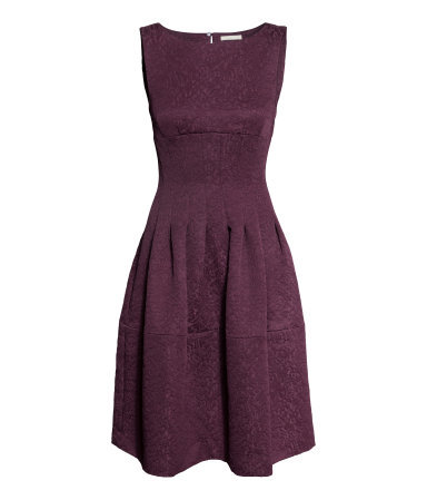 Brocade Dress - length: below the knee; neckline: round neck; sleeve style: sleeveless; predominant colour: aubergine; occasions: evening, occasion; fit: fitted at waist & bust; style: fit & flare; fibres: polyester/polyamide - mix; back detail: keyhole/peephole detail at back; sleeve length: sleeveless; pattern type: fabric; pattern size: standard; pattern: patterned/print; texture group: brocade/jacquard; season: a/w 2014