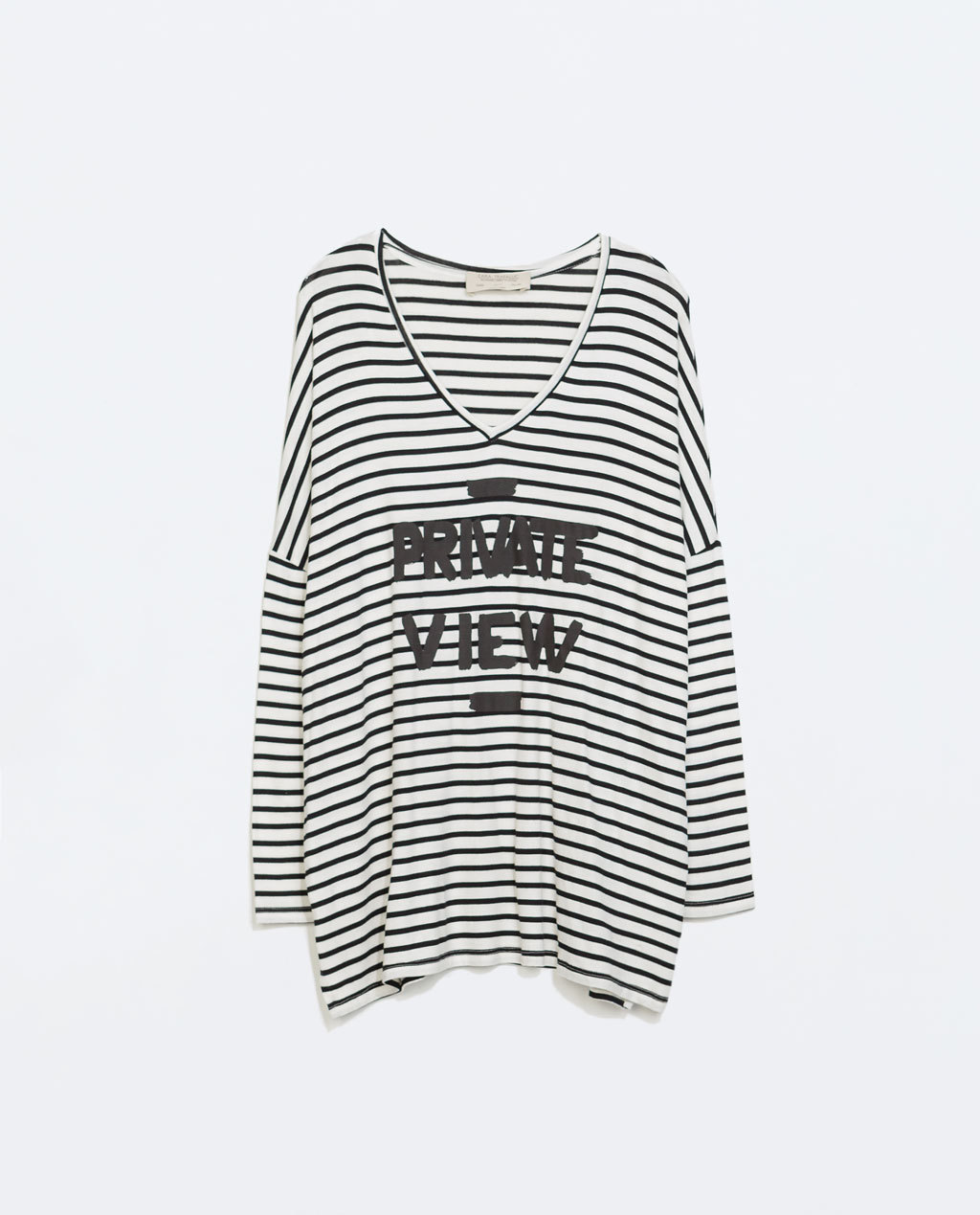 Printed Striped T Shirt - neckline: low v-neck; sleeve style: dolman/batwing; pattern: horizontal stripes; length: below the bottom; style: t-shirt; secondary colour: white; predominant colour: black; occasions: casual; fibres: cotton - stretch; fit: loose; sleeve length: long sleeve; pattern type: fabric; pattern size: standard; texture group: jersey - stretchy/drapey; season: a/w 2014