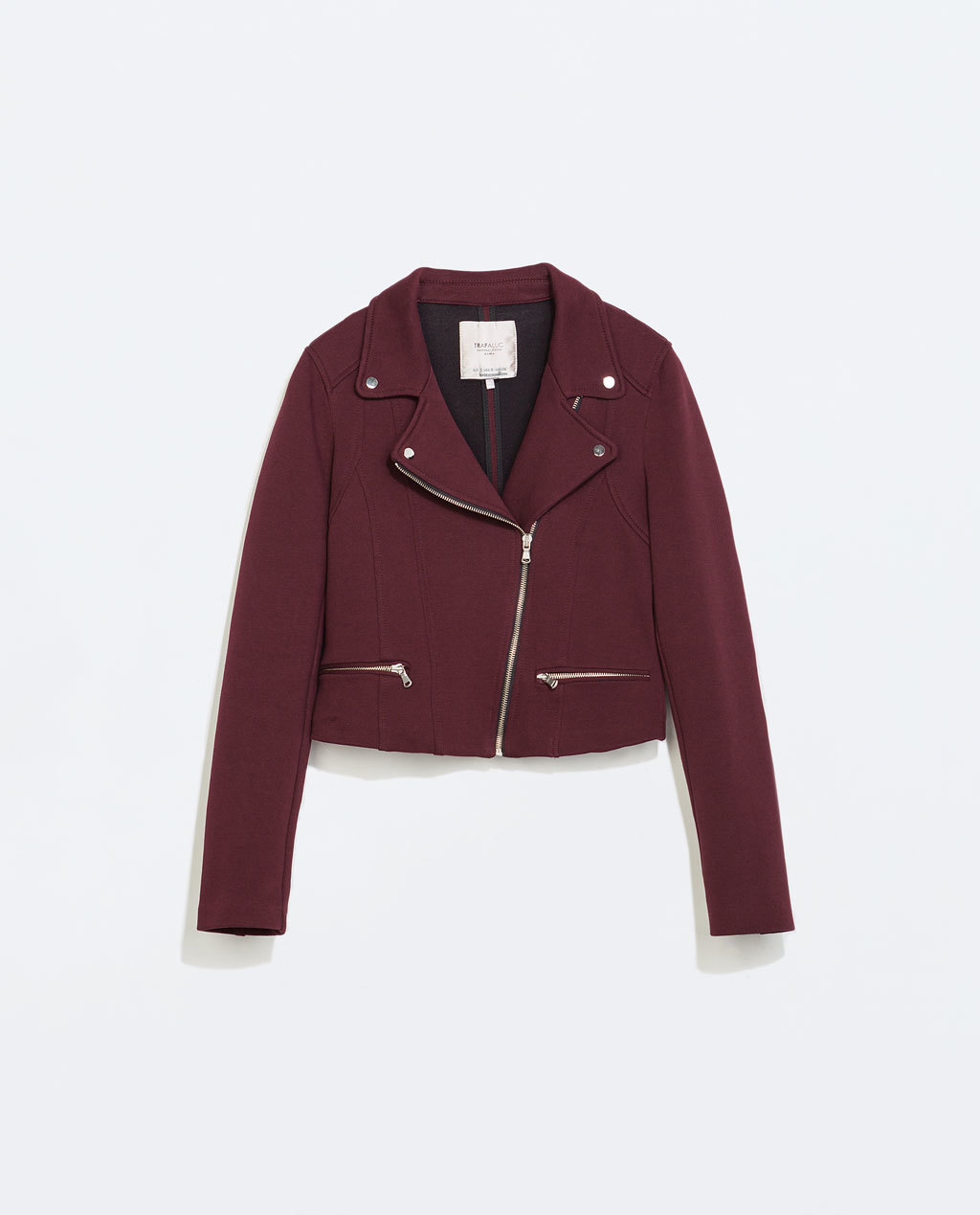 Plush Biker Jacket - pattern: plain; style: biker; collar: asymmetric biker; predominant colour: burgundy; occasions: casual, evening, creative work; fit: tailored/fitted; fibres: cotton - 100%; sleeve length: long sleeve; sleeve style: standard; collar break: medium; pattern type: fabric; texture group: woven light midweight; season: a/w 2014; length: cropped
