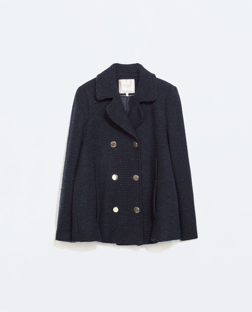 Cape Coat - pattern: plain; length: below the bottom; style: double breasted; collar: standard lapel/rever collar; predominant colour: navy; secondary colour: gold; occasions: casual, creative work; fit: straight cut (boxy); fibres: wool - mix; sleeve length: long sleeve; sleeve style: standard; collar break: medium; pattern type: fabric; texture group: woven bulky/heavy; trends: outerwear chic; season: a/w 2014