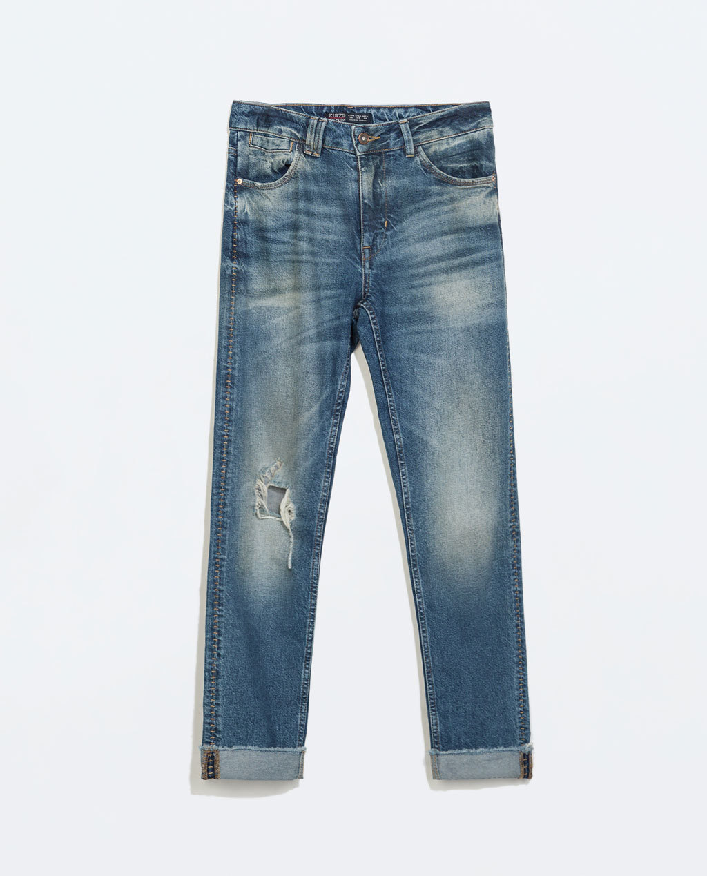 Mom Jeans - style: straight leg; length: standard; pattern: plain; pocket detail: traditional 5 pocket; waist: mid/regular rise; predominant colour: denim; occasions: casual; fibres: cotton - stretch; jeans detail: whiskering, shading down centre of thigh, washed/faded; texture group: denim; pattern type: fabric; season: a/w 2014