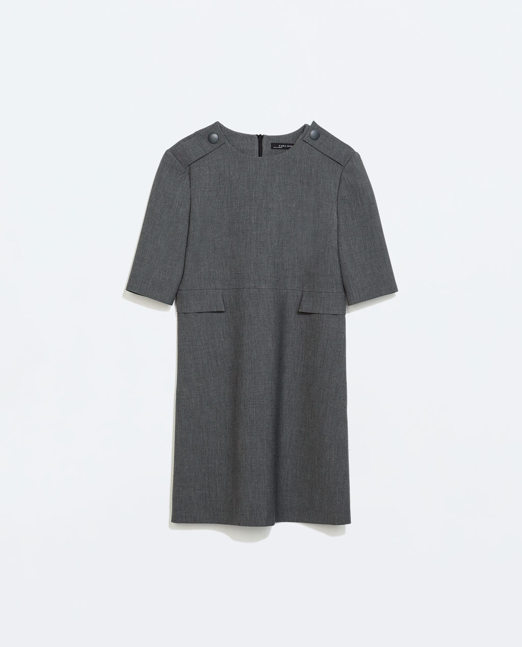 Dress With Flap Pockets - style: shift; length: mid thigh; neckline: round neck; pattern: plain; shoulder detail: obvious epaulette; predominant colour: charcoal; occasions: casual, work, creative work; fit: straight cut; fibres: polyester/polyamide - stretch; sleeve length: short sleeve; sleeve style: standard; pattern type: fabric; texture group: woven light midweight; season: a/w 2014; wardrobe: highlight