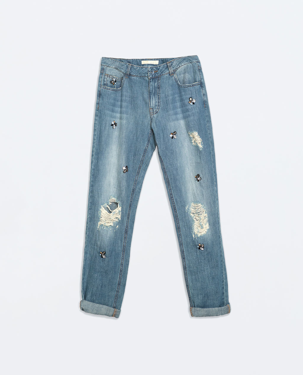 Jewelled Boyfriend Jeans - style: boyfriend; length: standard; pattern: plain; pocket detail: traditional 5 pocket; waist: mid/regular rise; predominant colour: denim; occasions: casual, creative work; fibres: cotton - stretch; jeans detail: whiskering, shading down centre of thigh, washed/faded; jeans & bottoms detail: turn ups; texture group: denim; pattern type: fabric; embellishment: crystals/glass; season: a/w 2014