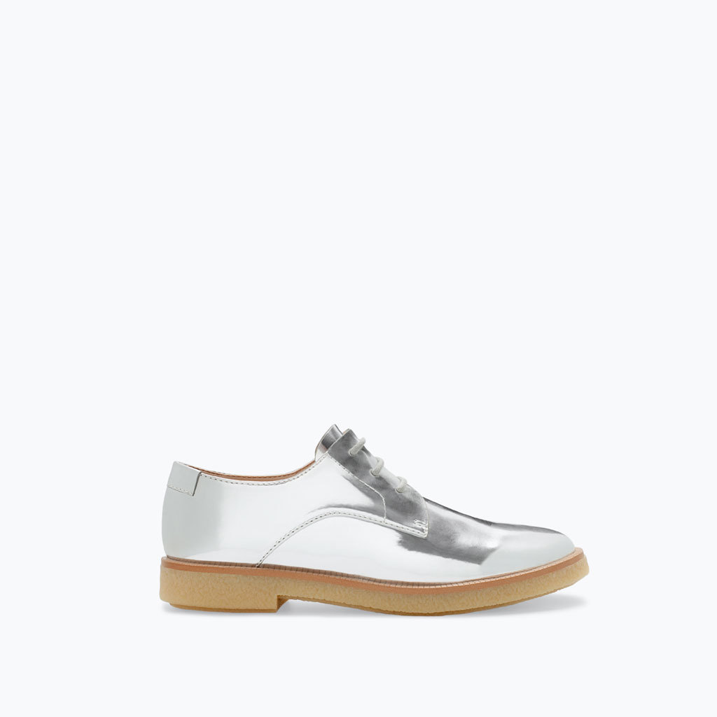 Metallic Finish Blucher - secondary colour: camel; predominant colour: silver; occasions: casual, creative work; material: faux leather; heel height: flat; toe: round toe; finish: metallic; pattern: colourblock; style: lace ups; season: a/w 2014