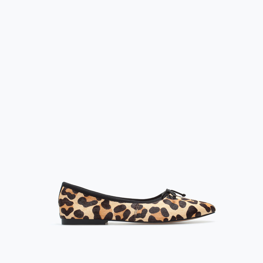 Printed Leather Ballet Flats - predominant colour: stone; secondary colour: black; occasions: casual, creative work; material: leather; heel height: flat; toe: round toe; style: ballerinas / pumps; finish: plain; pattern: animal print; season: a/w 2014