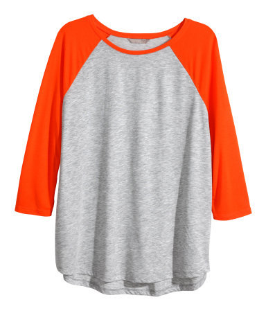 Hm+ Top With Raglan Sleeves - sleeve style: raglan; style: t-shirt; secondary colour: bright orange; predominant colour: light grey; occasions: casual; length: standard; fit: loose; neckline: crew; sleeve length: 3/4 length; pattern type: fabric; pattern size: standard; pattern: colourblock; texture group: jersey - stretchy/drapey; fibres: viscose/rayon - mix; season: a/w 2014