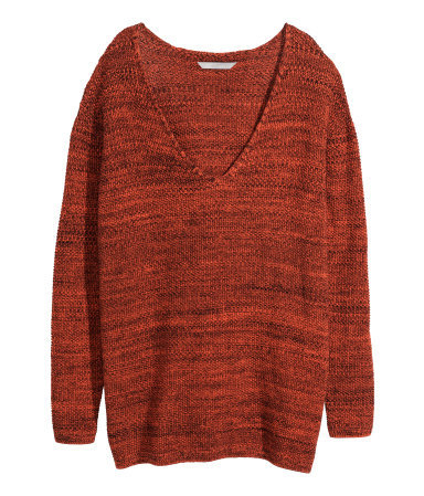 + Knitted Jumper - neckline: low v-neck; sleeve style: dolman/batwing; length: below the bottom; style: standard; predominant colour: terracotta; secondary colour: black; occasions: casual, creative work; fibres: acrylic - 100%; fit: loose; sleeve length: long sleeve; texture group: knits/crochet; pattern type: knitted - other; pattern size: standard; pattern: marl; season: a/w 2014