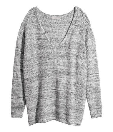 + Knitted Jumper - neckline: low v-neck; length: below the bottom; style: standard; predominant colour: charcoal; secondary colour: light grey; occasions: casual, creative work; fibres: acrylic - 100%; fit: loose; sleeve length: long sleeve; sleeve style: standard; texture group: knits/crochet; pattern type: knitted - other; pattern size: standard; pattern: marl; season: a/w 2014