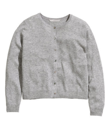 + Cashmere Cardigan - neckline: round neck; pattern: plain; predominant colour: light grey; occasions: casual, work, creative work; length: standard; style: standard; fit: standard fit; fibres: cashmere - 100%; sleeve length: long sleeve; sleeve style: standard; texture group: knits/crochet; pattern type: knitted - fine stitch; season: a/w 2014