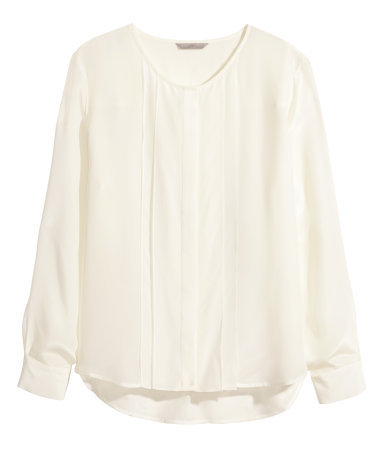 + Silk Blouse - neckline: round neck; pattern: plain; style: blouse; bust detail: ruching/gathering/draping/layers/pintuck pleats at bust; predominant colour: ivory/cream; occasions: work, creative work; length: standard; fibres: silk - 100%; fit: straight cut; sleeve length: long sleeve; sleeve style: standard; texture group: silky - light; pattern type: fabric; season: a/w 2014
