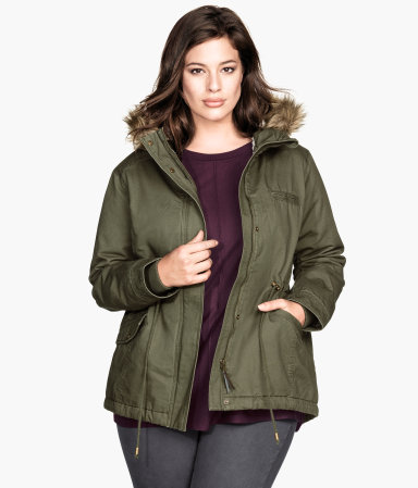 + Parka With Pile Lining - pattern: plain; length: standard; style: parka; collar: high neck; secondary colour: camel; predominant colour: khaki; occasions: casual; fit: straight cut (boxy); fibres: cotton - 100%; sleeve length: long sleeve; sleeve style: standard; texture group: cotton feel fabrics; collar break: high; pattern type: fabric; embellishment: fur; season: a/w 2014; wardrobe: highlight; embellishment location: neck