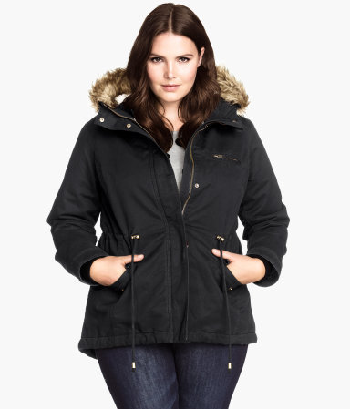 + Parka With Pile Lining - pattern: plain; length: standard; style: parka; back detail: hood; collar: high neck; secondary colour: camel; predominant colour: black; occasions: casual; fit: straight cut (boxy); fibres: cotton - 100%; waist detail: belted waist/tie at waist/drawstring; sleeve length: long sleeve; sleeve style: standard; texture group: cotton feel fabrics; collar break: high; pattern type: fabric; season: a/w 2014; hip detail: front pockets at hip