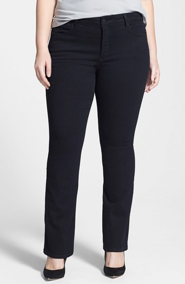 'billie' Stretch Mini Bootcut Jeans (Black) (Plus Size) - style: bootcut; length: standard; pattern: plain; pocket detail: traditional 5 pocket; waist: mid/regular rise; predominant colour: black; occasions: casual, evening; fibres: cotton - stretch; jeans detail: dark wash; texture group: denim; pattern type: fabric; season: a/w 2014