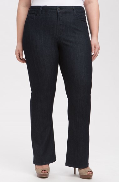 'barbara' Stretch Bootcut Jeans (Dark Enzyme) (Plus Size) - style: bootcut; length: standard; pattern: plain; pocket detail: traditional 5 pocket; waist: mid/regular rise; predominant colour: black; occasions: casual, evening, creative work; fibres: cotton - stretch; texture group: denim; pattern type: fabric; season: a/w 2014
