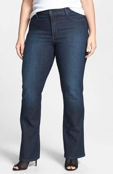 'barbara' Embellished Pocket Stretch Bootcut Jeans (Burbank) (Plus Size) - style: bootcut; length: standard; pattern: plain; pocket detail: traditional 5 pocket; waist: mid/regular rise; predominant colour: navy; occasions: casual; fibres: cotton - stretch; jeans detail: dark wash; texture group: denim; pattern type: fabric; season: a/w 2014