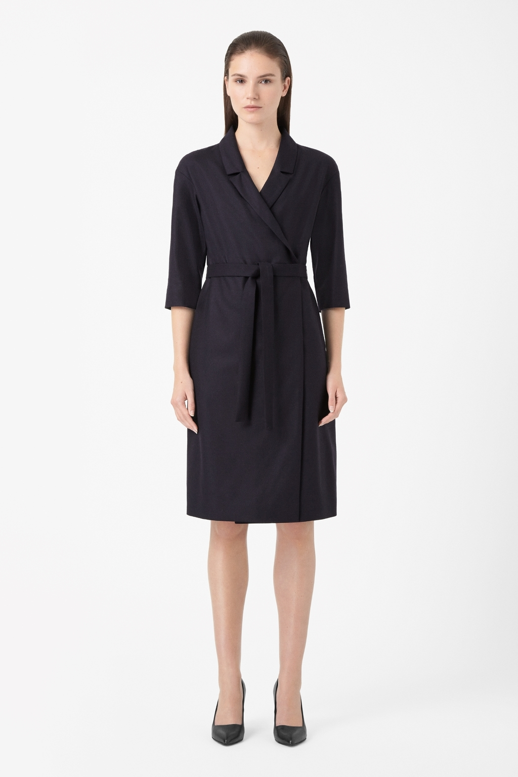 Tie Waist Blazer Dress - style: faux wrap/wrap; neckline: v-neck; pattern: plain; waist detail: belted waist/tie at waist/drawstring; predominant colour: black; occasions: evening; length: on the knee; fit: body skimming; fibres: wool - stretch; sleeve length: 3/4 length; sleeve style: standard; pattern type: fabric; texture group: woven light midweight; season: a/w 2014