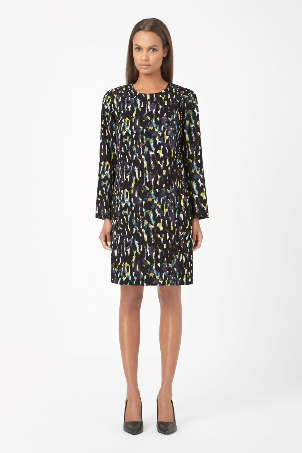 Printed Wool Dress - style: shift; secondary colour: yellow; predominant colour: black; occasions: evening, creative work; length: on the knee; fit: body skimming; fibres: wool - 100%; neckline: crew; sleeve length: long sleeve; sleeve style: standard; pattern type: fabric; pattern: patterned/print; texture group: woven light midweight; season: a/w 2014