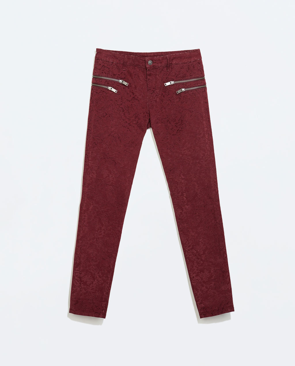 Trousers With Zips - pocket detail: large back pockets; waist: mid/regular rise; predominant colour: burgundy; secondary colour: silver; occasions: casual, evening, creative work; length: ankle length; fibres: cotton - stretch; fit: slim leg; pattern type: fabric; pattern: patterned/print; texture group: brocade/jacquard; style: standard; trends: zesty shades; season: a/w 2014; pattern size: standard (bottom)
