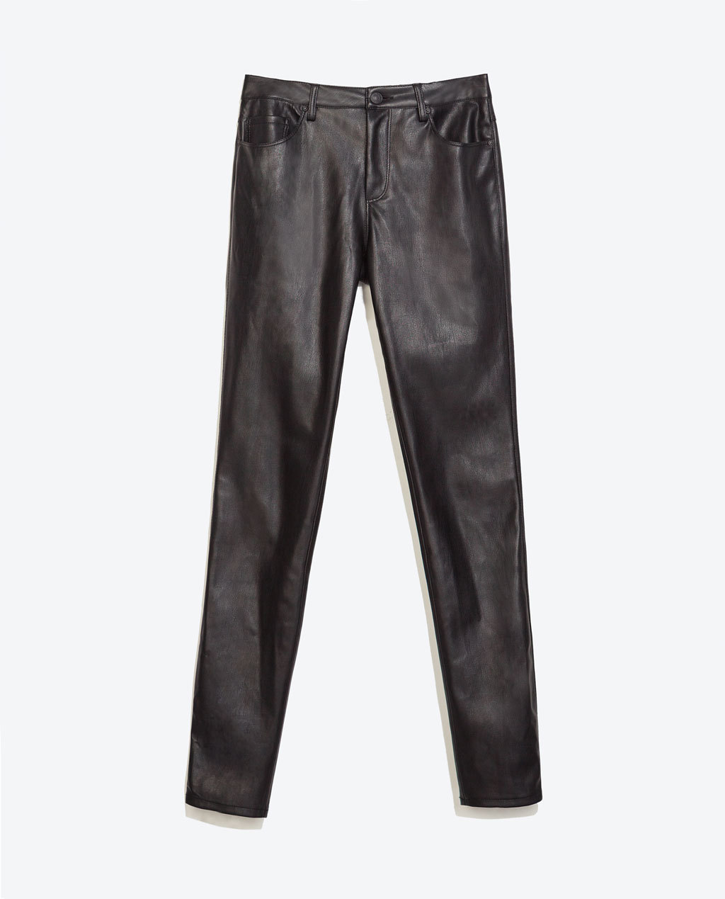 Faux Leather Skinny Jeans - style: skinny leg; length: standard; pattern: plain; waist: low rise; pocket detail: traditional 5 pocket; predominant colour: black; occasions: casual, evening, creative work; fibres: polyester/polyamide - stretch; texture group: leather; pattern type: fabric; season: a/w 2014