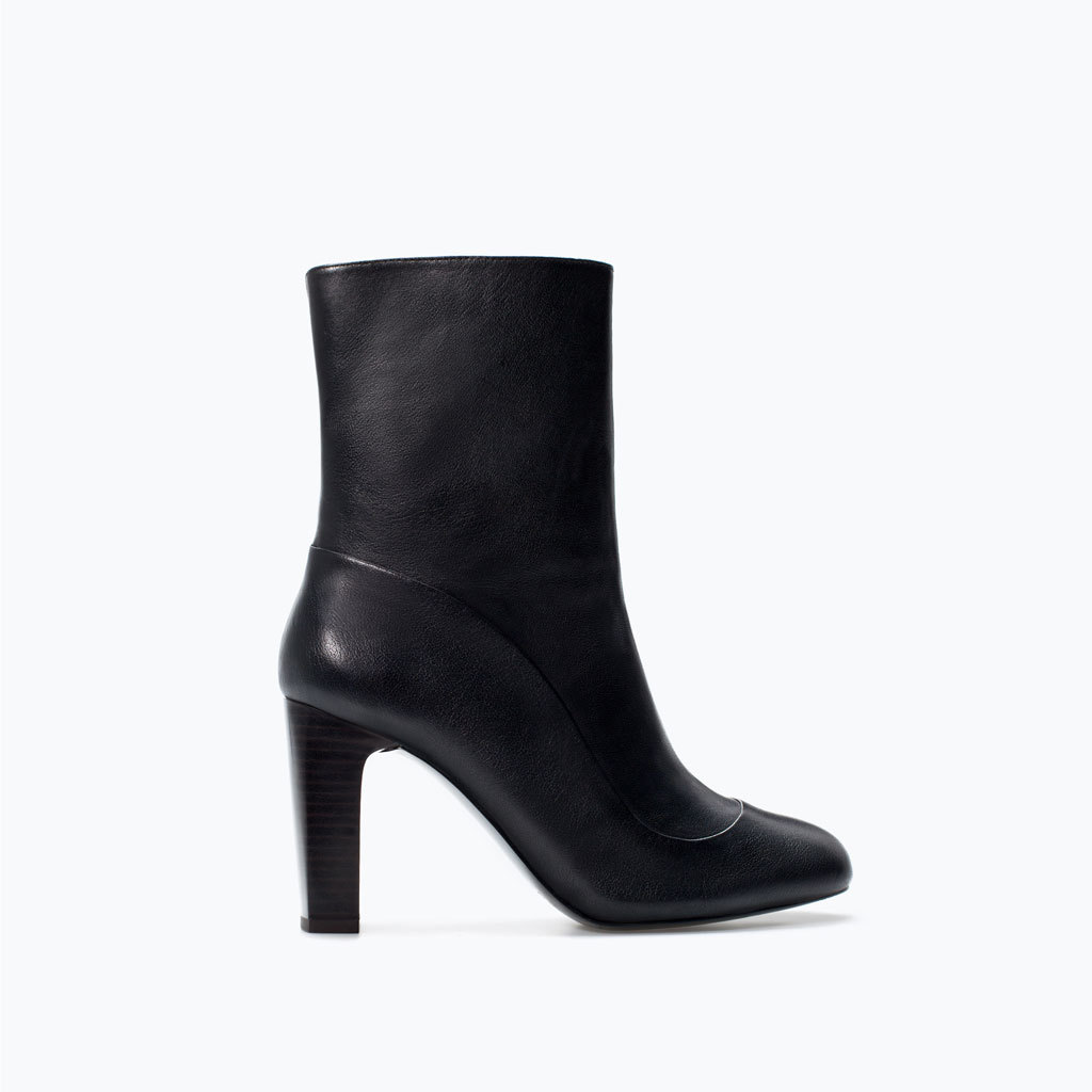 Leather High Heel Ankle Boot - predominant colour: black; occasions: casual, creative work; material: leather; heel height: high; heel: block; toe: pointed toe; boot length: ankle boot; style: standard; finish: plain; pattern: plain; season: a/w 2014