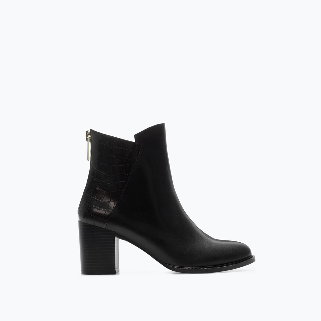 Croc Leather Block Heel Bootie - predominant colour: black; occasions: casual, creative work; material: leather; heel height: high; heel: block; toe: round toe; boot length: ankle boot; style: standard; finish: plain; pattern: animal print; season: a/w 2014