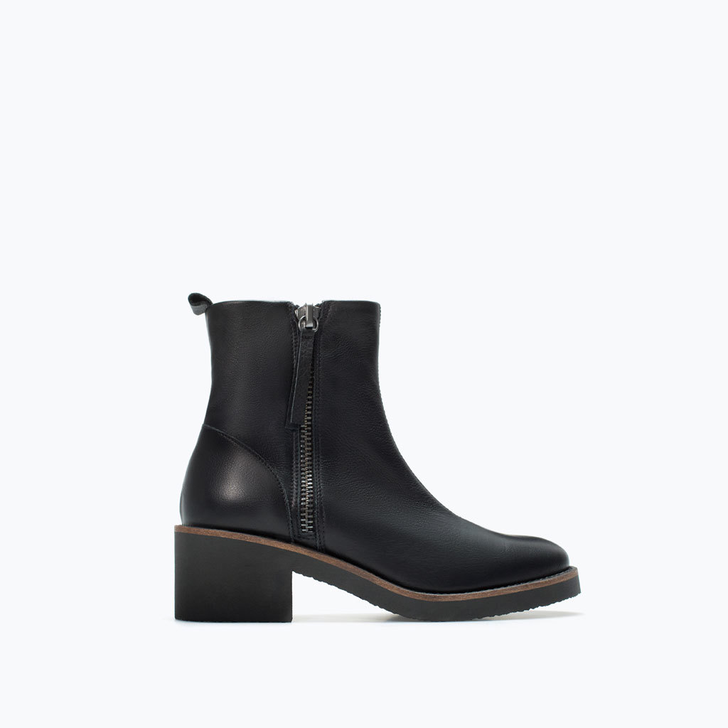 Crepe Leather Ankle Boot - predominant colour: black; occasions: casual, creative work; material: leather; heel height: mid; heel: block; toe: round toe; boot length: ankle boot; style: standard; finish: plain; pattern: plain; season: a/w 2014