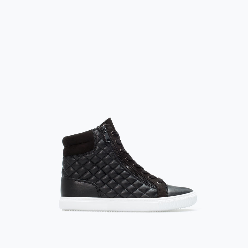 Quilted Trainer - secondary colour: white; predominant colour: black; occasions: casual, creative work; material: faux leather; heel height: flat; embellishment: quilted; ankle detail: ankle tie; toe: round toe; style: trainers; finish: plain; pattern: colourblock; season: a/w 2014