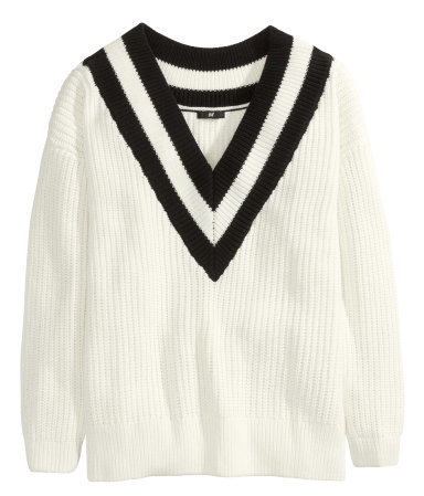 V Neck Jumper - neckline: low v-neck; pattern: striped; style: tunic; predominant colour: white; secondary colour: black; occasions: casual, creative work; length: standard; fibres: cotton - mix; fit: loose; sleeve length: long sleeve; sleeve style: standard; texture group: knits/crochet; pattern type: knitted - other; pattern size: light/subtle; trends: statement knits; season: a/w 2014; embellishment location: bust