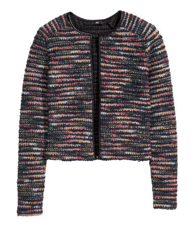Jacket In Bouclé Yarn - collar: round collar/collarless; style: boxy; pattern: herringbone/tweed; secondary colour: black; occasions: casual, work, creative work; fit: straight cut (boxy); fibres: acrylic - mix; predominant colour: multicoloured; sleeve length: long sleeve; sleeve style: standard; collar break: low/open; pattern type: fabric; pattern size: standard; texture group: woven light midweight; trends: zesty shades, outerwear chic; season: a/w 2014; multicoloured: multicoloured; length: cropped