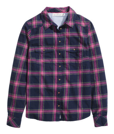 Checked Flannel Shirt - neckline: shirt collar/peter pan/zip with opening; pattern: checked/gingham; style: shirt; predominant colour: navy; occasions: casual, creative work; length: standard; fibres: cotton - 100%; fit: straight cut; sleeve length: long sleeve; sleeve style: standard; texture group: cotton feel fabrics; pattern type: fabric; pattern size: standard; secondary colour: dusky pink; season: a/w 2014
