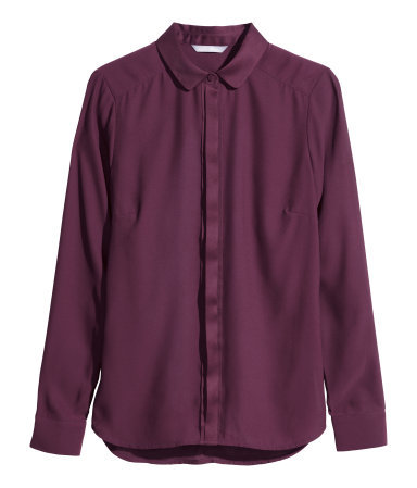 Figure Fit Blouse - neckline: shirt collar/peter pan/zip with opening; pattern: plain; style: blouse; predominant colour: purple; occasions: casual, evening, work, creative work; length: standard; fibres: polyester/polyamide - 100%; fit: straight cut; sleeve length: long sleeve; sleeve style: standard; texture group: crepes; season: a/w 2014