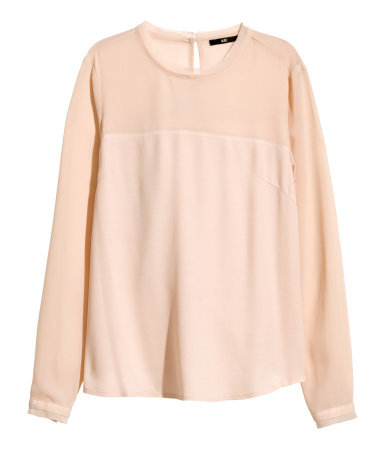 Long Sleeved Blouse - pattern: plain; style: blouse; predominant colour: nude; occasions: casual, evening, creative work; length: standard; fibres: viscose/rayon - 100%; fit: straight cut; neckline: crew; sleeve length: long sleeve; sleeve style: standard; texture group: other - light to midweight; season: a/w 2014