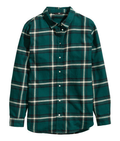 Flannel Shirt - neckline: shirt collar/peter pan/zip with opening; pattern: checked/gingham; style: shirt; predominant colour: dark green; secondary colour: khaki; occasions: casual, creative work; length: standard; fibres: cotton - 100%; fit: straight cut; sleeve length: long sleeve; sleeve style: standard; texture group: cotton feel fabrics; pattern type: fabric; pattern size: standard; season: a/w 2014
