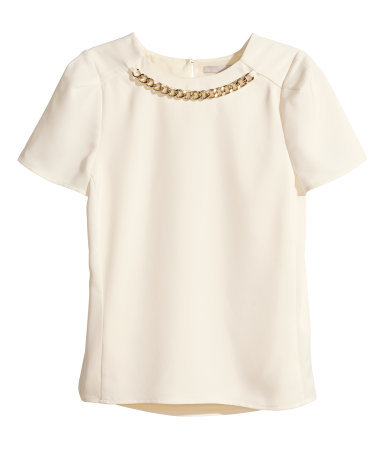 Short Sleeved Blouse - pattern: plain; style: blouse; predominant colour: ivory/cream; occasions: casual, evening, creative work; length: standard; fibres: polyester/polyamide - 100%; fit: straight cut; neckline: crew; sleeve length: short sleeve; sleeve style: standard; texture group: woven light midweight; embellishment: chain/metal; season: a/w 2014