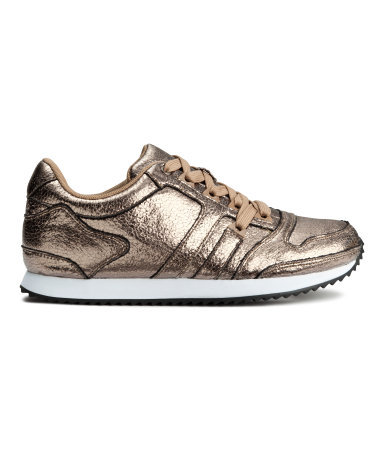 Trainers - predominant colour: taupe; occasions: casual, creative work, activity; material: faux leather; heel height: flat; toe: round toe; style: trainers; finish: metallic; pattern: plain; season: a/w 2014