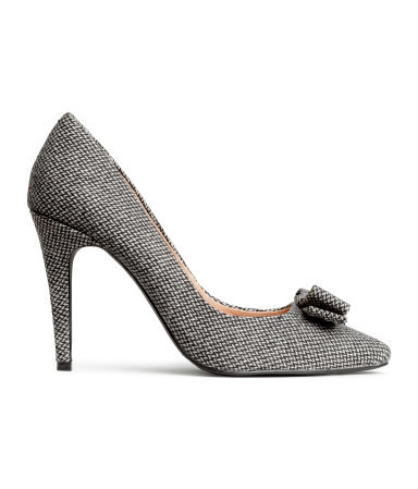 Court Shoes - predominant colour: mid grey; occasions: evening, work, occasion, creative work; material: fabric; heel: stiletto; toe: pointed toe; style: courts; finish: plain; pattern: herringbone/tweed; embellishment: bow; heel height: very high; season: a/w 2014