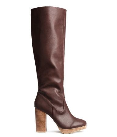 Knee High Boots - predominant colour: chocolate brown; secondary colour: camel; occasions: casual, creative work; material: faux leather; heel height: high; heel: block; toe: round toe; boot length: knee; style: standard; finish: plain; pattern: plain; shoe detail: platform; season: a/w 2014