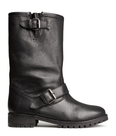Leather Boots - predominant colour: black; occasions: casual, creative work; material: leather; heel height: flat; embellishment: buckles; heel: block; toe: round toe; boot length: mid calf; style: biker boot; finish: plain; pattern: plain; season: a/w 2014