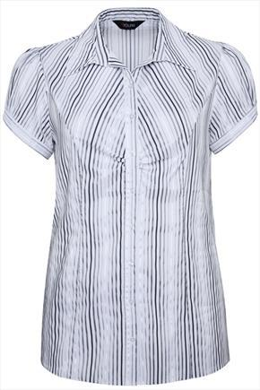 White And Black Striped Shirt With Ruching Detail - neckline: shirt collar/peter pan/zip with opening; sleeve style: puffed; pattern: vertical stripes; style: shirt; predominant colour: white; secondary colour: black; occasions: work, creative work; length: standard; fit: tailored/fitted; sleeve length: short sleeve; texture group: cotton feel fabrics; pattern type: fabric; fibres: nylon - stretch; season: a/w 2014