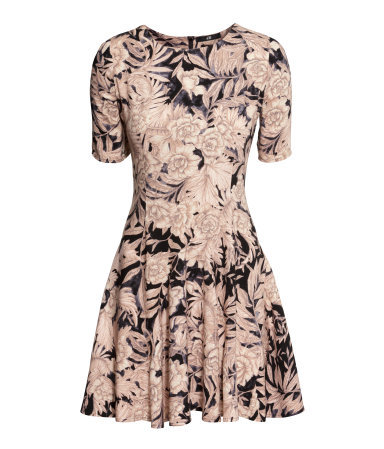 Patterned Dress - length: mid thigh; neckline: round neck; predominant colour: nude; secondary colour: black; occasions: casual, creative work; fit: fitted at waist & bust; style: fit & flare; fibres: viscose/rayon - 100%; sleeve length: short sleeve; sleeve style: standard; pattern type: fabric; pattern size: big & busy; pattern: patterned/print; texture group: jersey - stretchy/drapey; season: a/w 2014
