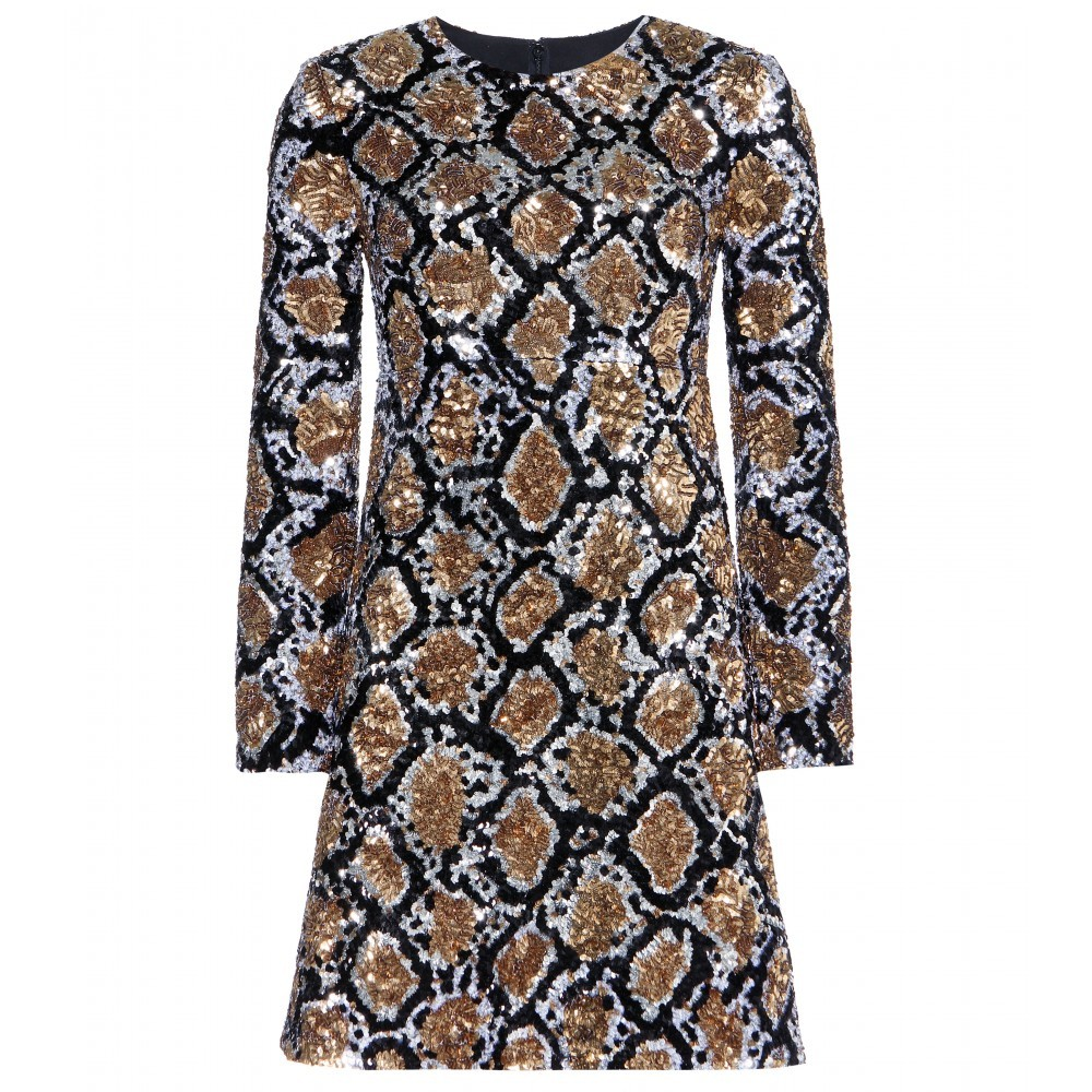 Sequin Embellished Silk Dress - style: shift; length: mid thigh; predominant colour: gold; secondary colour: black; occasions: evening, occasion; fit: soft a-line; fibres: silk - 100%; neckline: crew; sleeve length: long sleeve; sleeve style: standard; pattern type: fabric; pattern size: big & busy; pattern: patterned/print; texture group: other - light to midweight; embellishment: sequins; season: a/w 2014