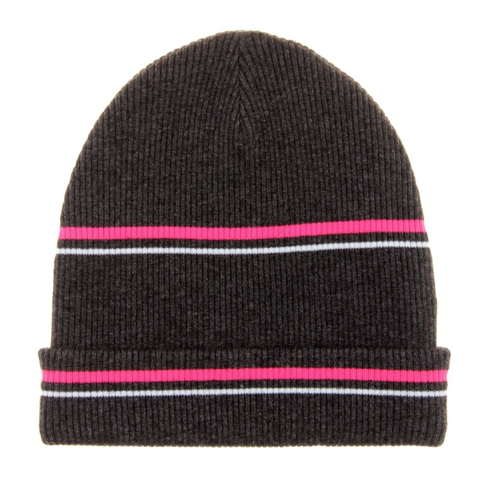 Wool Blend Hat - occasions: casual; predominant colour: multicoloured; style: beanie; size: standard; material: knits; pattern: horizontal stripes; season: a/w 2014; multicoloured: multicoloured
